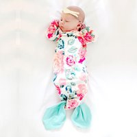 Wholesale girls single bedding online - infant baby mermaid sleeping bag Boutique Bedding swaddle quilt toddler girls cartoon bow tail pajamas lovely flower printed