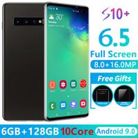 goophone barco al por mayor-Goophone S10 + 6.5 pulgadas Quad Core MTK6580 Android 9.0 Teléfono 3G 1GB RAM 16GB ROM 1480 * 720 HD 8MP Teléfono inteligente desbloqueado Envío gratis