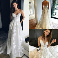 Wholesale couture bride dress resale online - Pallas Couture Boho Wedding Dresses Spaghetti A Line Backless Lace Appliqued Bohemian Bride Wedding Gowns Custom Made Vestidos De Novia