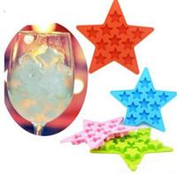 moldes para la venta al por mayor-Nueva venta caliente Estilo de Verano Bar Bebida Whisky Esfera Forma de Estrella de Silicona Ladrillo Cubo de Hielo Bandeja de Molde Molde Helado Herramientas