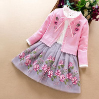 Wholesale fall girl clothes for sale - Group buy Girl designer clothing Flower Embroidery Long Sleeve Dress Knitted Cardigan clothes Spring fall Warm Knitted dress