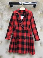 ingrosso cappotto chiffon a ginocchio-Blazer scozzese da donna di design Lungo spesso 2019 Autunno Nuovo marchio invernale Giacca per donna Moda Plaid Abbigliamento di lusso da donna