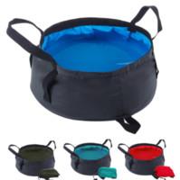 saco de banho ao ar livre venda por atacado-9 cores portátil Folding lavatório exterior dobrável balde bacia de lavagem Água Bag Pot para Camping Caminhadas Banho Supplie MMA1581-3