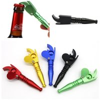 Wholesale torch smoking pipe for sale - Group buy Multi Purpose Bottle Openers Smoking Pipe Torch Shaped Metal Tobacco Pipes Matte Color Handpipe Factory Direct kr E1