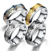 anéis de aço inoxidável de titânio prata 316l venda por atacado-A granel Anéis De Aço Inoxidável 316L Prata Ouro Preto esculpida peça Dragão Totem Titanium Anel de dedo Para Homens Mulheres s Moda Jóias