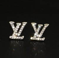Wholesale gold alphabet letters resale online - Luxury Designer Stud Earrings for Women Jewelry Shining Silver Color A Crystal Letter Earrings with Diamond Pearl for Party Gift
