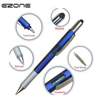 ingrosso penna stilografica in metallo nero-EZONE 1PC Metallo Multi-funzione penna a sfera nero strumento di inchiostro del driver Stilo Gradienter scala righello cacciavite penna multiuso