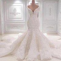 vestidos de noiva de renda venda por atacado-2020 vestidos de noiva luxuoso do casamento da sereia Vestidos de casamento do pescoço da colher cheia do laço Appliqued Cristal Catedral Trem longo