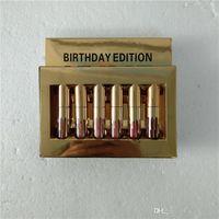 mini-lipgloss großhandel-NEU Gold Kylie Jenner Lipgloss Kosmetik Matt Lippenstift Lipgloss Mini Leo Kit Lippengeburtstag Limited Edition mit goldener Einzelhandelsverpackung