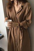 kahverengi şık toptan satış-Hırka Chic Uzun Kollu Gömlek Elbise Yeni Casual Patchwork Elbiseler Ol Kısın Yaka Düğmeleri Gevşek Mavi Kahverengi Elbiseler Robe J190531
