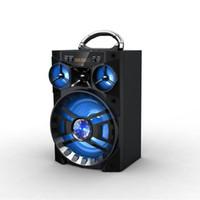 büyük müzik kutusu toptan satış-2019 yeni Büyük Ses HiFi Hoparlör Taşınabilir Bluetooth AUX Hoparlörler Bas USB Subwoofer Açık Müzik Kutusu Ile USB LED Işık TF FM Radyo