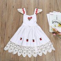 weißes kleid kirschen großhandel-Säuglingsmädchen-Spitze-Stickerei-Kirschblumendruck-Halter-rückenfreies Kleid-weiße Farbfliegen-Hülsen-Rüschen-süße Kinderkleider