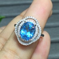 Wholesale big topaz resale online - big size exquisite blue topaz ring women silver ring natural gem sterling silver good color birthday gift oval new year