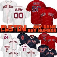 736b76e59dc Custom 50 Mookie Betts Red Sox jersey 9 Ted Williams Boston 16 Andrew  Benintendi 28 JD Martinez 26 Wade Boggs 41 Chris Sale 34 David Ortiz