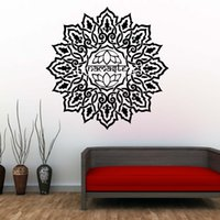 fondo de pantalla de loto en casa al por mayor-1 Unids Lotus Mandala Wallpaper Living Room Sticker Vinyl Art Home Decor Indian Pattern Tatuajes de Pared