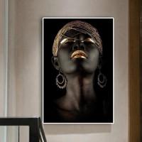 голые масла оптовых-Созерцатель Черного Африканского Обнаженная женщина Картина масло на холст Плакаты и печать Скандинавской стен искусство Картина для гостиной