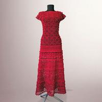vestido de crochê vermelho venda por atacado-Vestido de crochet Michaela. Mulheres artesanais vermelhas cocktail ou ocasião especial algodão crochet vestido Feito por encomenda