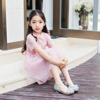 zapatos de tacón bajo para niñas al por mayor-Niño Cristal Brillo Pisos Niño pequeño Bombas de tacón bajo Big Girl Concurso Boda Dama de honor Princesa Zapatos de vestir