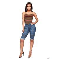 spandex горячие штаны плюс размер оптовых-Skinny Short Jeans Woman 2019 High Rise Elastic Denim Shorts Female Summer Knee Length Curvy Stretch Short Jeans Pants calcas