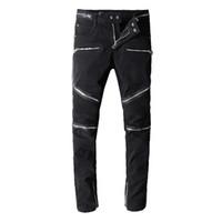 true khaki großhandel-Balmain Herren Jeans Motorrad Biker Pattern Jeans Rock Verbreiterung Mast gerissen Cool Pattern Mottled echte Hosen Designer Frauen Jeans