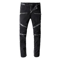 Wholesale cool men black pants for sale - Group buy Balmain mens jeans Motorcycle biker Pattern jeans rock widening fattening ripped Cool Pattern Mottled true pants designer women jeans