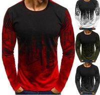 ingrosso camicia di colore gradiente-T-shirt in cotone da uomo Gradient Colour a manica lunga Muscolare Basic Solid Blouse O neck Maglietta Top Casual tshirt