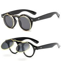 lunettes de soleil flip achat en gros de-Lunettes de soleil pour hommes femmes mode lunettes de soleil femmes rétro lunettes de soleil mens lunettes de soleil rondes unisexe Flip circulaire lunettes de soleil Designer 8K1D87