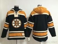 Wholesale old time hockey hoodie blank resale online - Top Quality Boston Bruins Old Time Hockey Jerseys Blank Black Hoodie Pullover Sweatshirts Winter Jacket