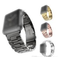 браслеты оптовых-Нержавеющая сталь ремешки для часов наручные для Iwatch Apple, мужчины ремешок для часов ремешок женщины браслет аксессуары спорт 38 мм 42 мм с адаптером