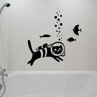 vinil balık dekal çocuklar toptan satış-Bir Dalış Kedi Balık Duvar Çıkartmaları Ev Dekor Oturma Odası Çıkarılabilir Vinil Duvar Sticker Çocuk Odaları Sanat Mural Çıkart ...