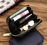 Wholesale womens wallets leather resale online - WOMENS brown mono colors CARD holder ZIPPY COIN fashion casual short leather zipper purse short Wallet BOX dust bag card