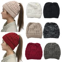 Wholesale party top hat decorations resale online - Women Wool Caps Colors Solid Knitted Hat Women Empty Top Ponytail Hats Student Trendy Beanies Pieces ePacket