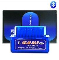 pc elm327 obd2 al por mayor-Super Mini ELM327 Bluetooth OBD2 V2.1 Soporte para teléfono inteligente y PC Mini ELM 327 BT OBD II Escáner