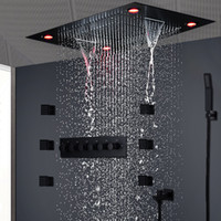 Wholesale large waterfall shower heads for sale - Group buy Modern Matt Black Shower Set Concealed LED Ceiling Light Massage Large Rain Waterfall Shower Panel Head Thermostatic High Flow Shower