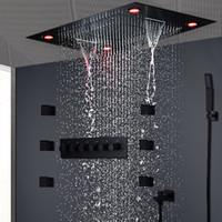 conjuntos de ducha de cabeza de lluvia al por mayor-Moderno Conjunto de ducha negro mate Oculto Luz de techo LED Masaje Gran lluvia Cascada Ducha Panel Cabeza Termostática Ducha de alto flujo