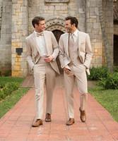 şampanya düğün smokinleri toptan satış-Gri şampanya Damat Smokin Sağdıç Takım Elbise İtalyan Tarzı üç Parçalı Düğün Balo Parti Erkekler Için Damat Suit Suits