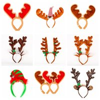 Wholesale antler decor for sale - Group buy Cartoon Xmas Antlers HairBands Flannelette HeadBand With Christmas Bell Kids Girls Hairs Buckle Party Decor headwear props FFA3007