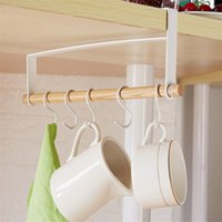 Wholesale receiving towels for sale - Group buy Hook Household Decoration Cup Rack Under Japanese Iron Art Cabinet Towel Receives Nail Free Punch Free Wooden Suspension Rack