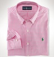 kaliteli mens iş gömlek toptan satış-Yeni Moda Küçük At Oxford Erkek Gömlek Uzun Kollu Erkek Gömlekler Yüksek Kalite Erkek İş Gömlek polo Chemise Homme 7043