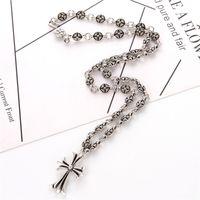 ancre pendentif collier pour hommes achat en gros de-Crowe cross anchor collier pendentif hommes et femmes dominatrice rétro réglable collier bijoux cadeau