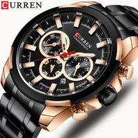 Wholesale curren clock black sport for sale - Group buy CURREN Classic Black Chronograph Men s Watch Sports Quartz Date Clock Male Watch Stainless Steel Wristwatch Relogio Masculino