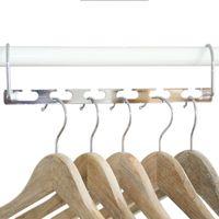складной гладильный стеллаж оптовых-Нержавеющая сталь вешалка для одежды железное вешалка для одежды многофункциональный сложить 6 отверстий пальто вешалка для одежды новое поступление 3 6bb L1