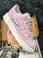 mudanças de logotipo venda por atacado-Air Forced 1 07 Wmns Jelly Puff Mulher Sneakers Gradual Mudança de Estado Líquido Logotipo Branco Rosa Meninas Calçados Esportivos, AH6827-100