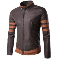 Wholesale Men PU Jackets Coats Autumn Winter Motorcycle Biker Leather Jacket Men Stand Collar Slim Fit Fashion Coat