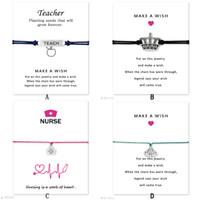 kits de loto al por mayor-Fashion Wish pulsera con tarjeta de regalo Crown Nurse kit médico manzana Maestro loto Encanto Cera cuerda abrigo brazalete Para mujeres Hombres Joyería de diseñador