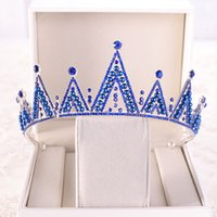 ingrosso blu corona tiaras-Perle di cristallo blu e perla Diademi per corona di fiori per la sposa Copricapo di strass Queen Diadema per sposa Diademi Corona per principessa