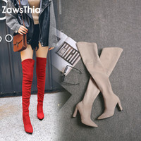 Wholesale overknee boots thigh high for sale - Group buy ZawsThia winter autumn stretch elastic thigh boots high heels shoes for woman over the knee high boots women overknee