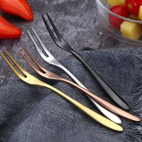 ingrosso forchette cocktail-Frutta dell'acciaio inossidabile Forks piccola dimensione Pickle Forks Cocktail forchetta da dessert Forcella per il banchetto del partito di pesce dessert del cocktail pick XD23249