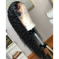 Wholesale half wig curly burgundy resale online - Black Loose Curly Synthetic Lace Front Wig Baby Hair Water Wave Heat Resistant Fiber Hair Half Hand Tied Wigs For Women