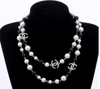Wholesale long chain choker necklace resale online - New Fashion Pearls Rhinestone Double Chain Necklace Women Long Sweater Chain choker